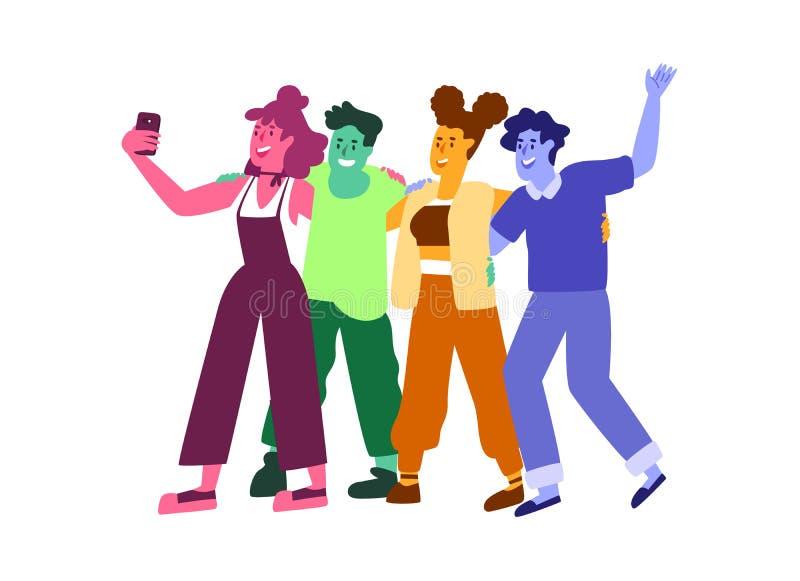 Felices amigos jóvenes abrazándose y tomando selfie stock de ilustración