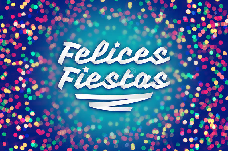 Felices fiestas - happy holidays spanish text stock illustration