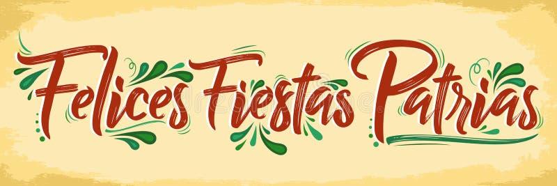 Felices Fiestas Patrias - lycklig spansk text för nationella ferier, patriotisk beröm för mexikanskt tema stock illustrationer