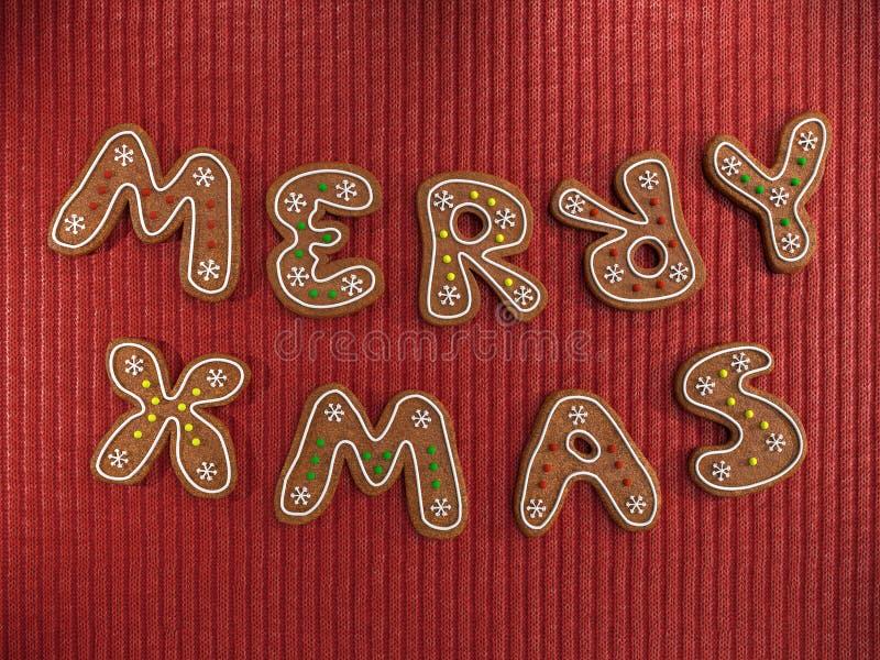 Felices galletas del pan de jengibre de Navidad foto de archivo