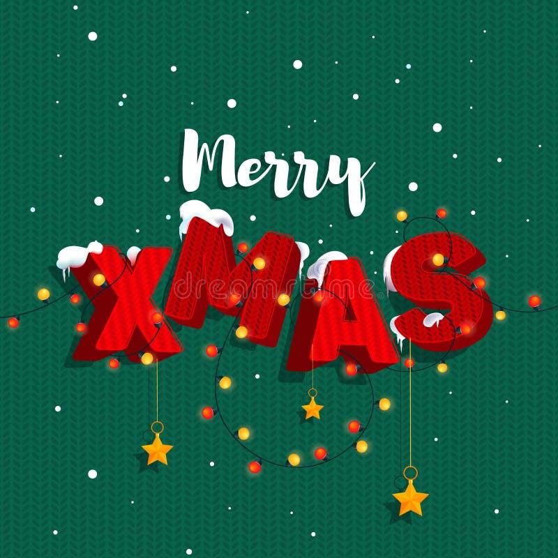 Felices Navidad de la inscripción 'en el estilo 3D, letras rojas y colores blancos derramados con la nieve colgada con las guirna libre illustration