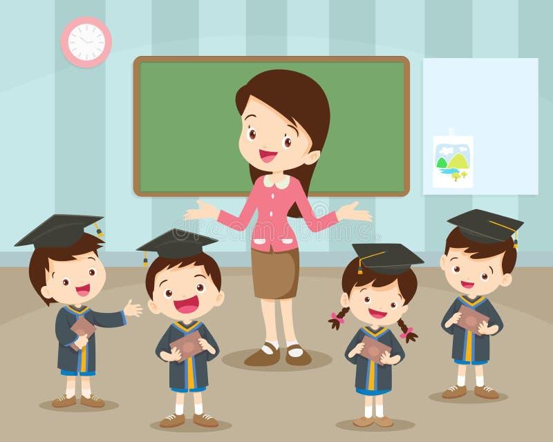 Felicidad de los estudiantes y del profesor de la graduación ilustración del vector