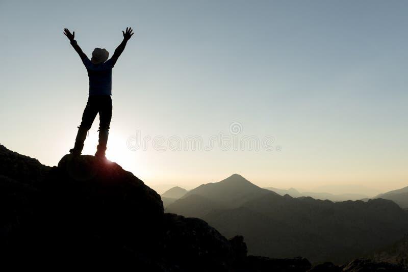 Felicidad del éxito en el pico de las montañas fotos de archivo libres de regalías
