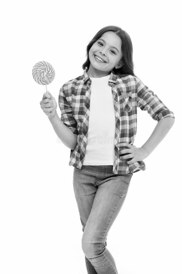 Felicidad dulce Puede azucarar nos hacen felices Piruleta dulce sonriente del control de la cara de la muchacha Muchacha como bla imagen de archivo libre de regalías