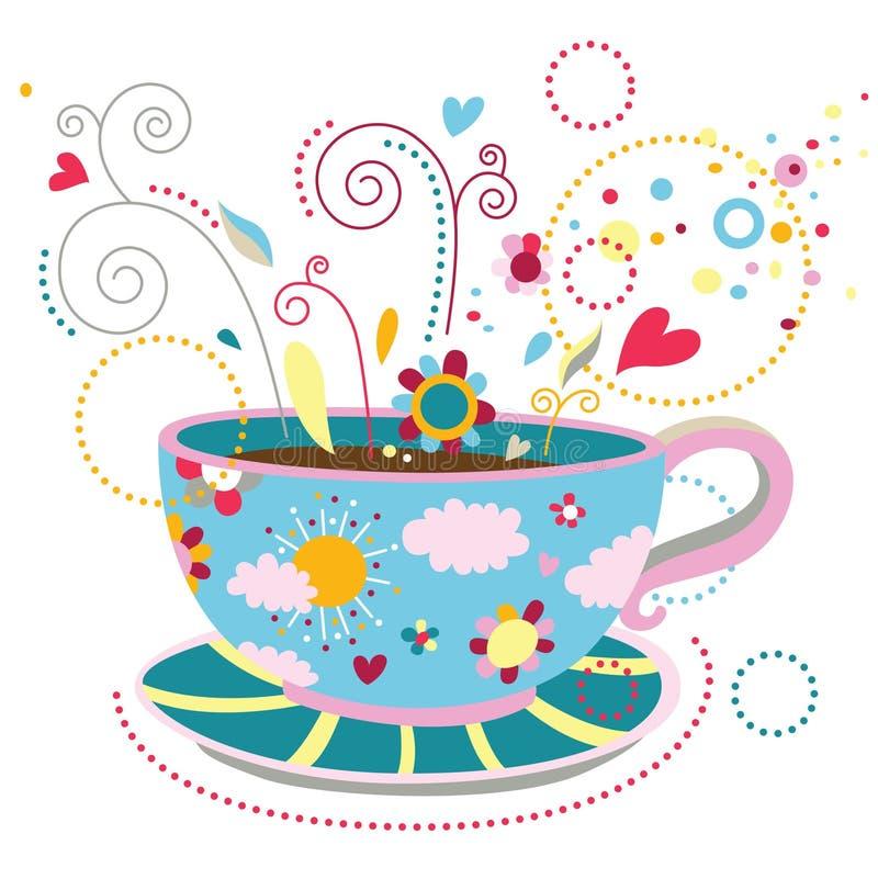 Felicidad en una taza de café libre illustration