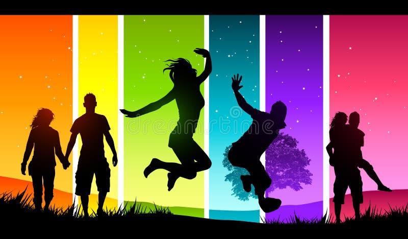 Felicidad extendida stock de ilustración