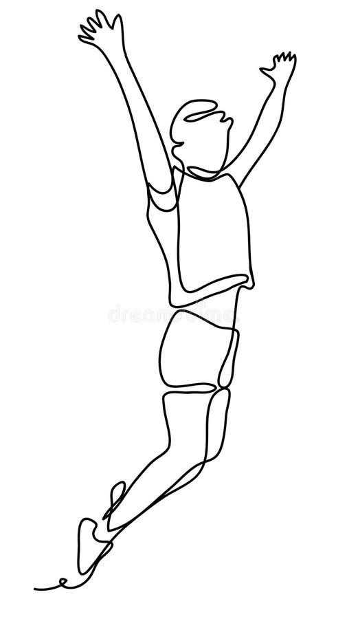 Felicidad, libertad, movimiento y concepto de la gente - mujer joven que salta en aire sobre el fondo blanco Línea continua ilustración del vector