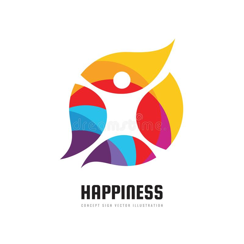 Felicidade ativa - ilustração do vetor do molde do logotipo do negócio do conceito Sinal criativo do caráter humano abstrato Apti ilustração do vetor