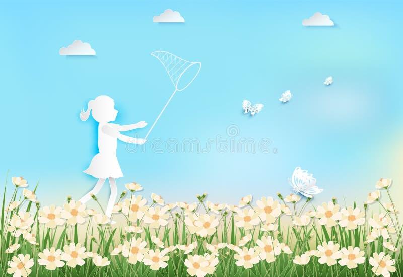 Felicidade da menina com as borboletas de travamento no campo de flores do cosmos ilustração royalty free