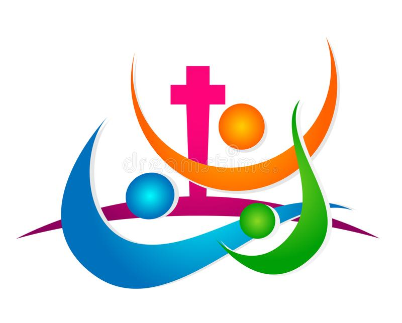 A felicidade de vencimento do ?cone do logotipo da uni?o dos povos da igreja do mundo do globo ama junto o s?mbolo da sa?de do be ilustração royalty free