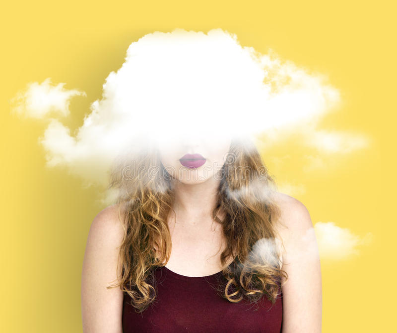 Felicidade escondida nuvem da depressão do dilema foto de stock royalty free