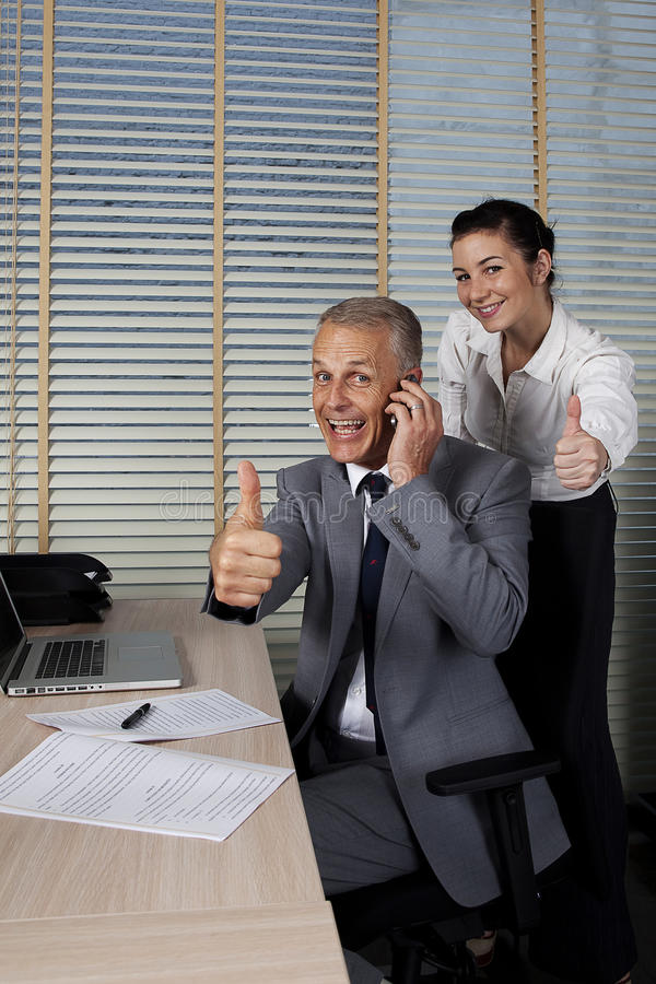 Felicidade no escritório imagens de stock royalty free