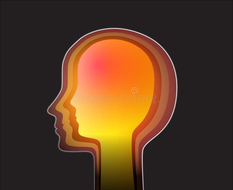 Felicidade para dentro, perfil do ser humano com cor brilhante para dentro, ilustração royalty free