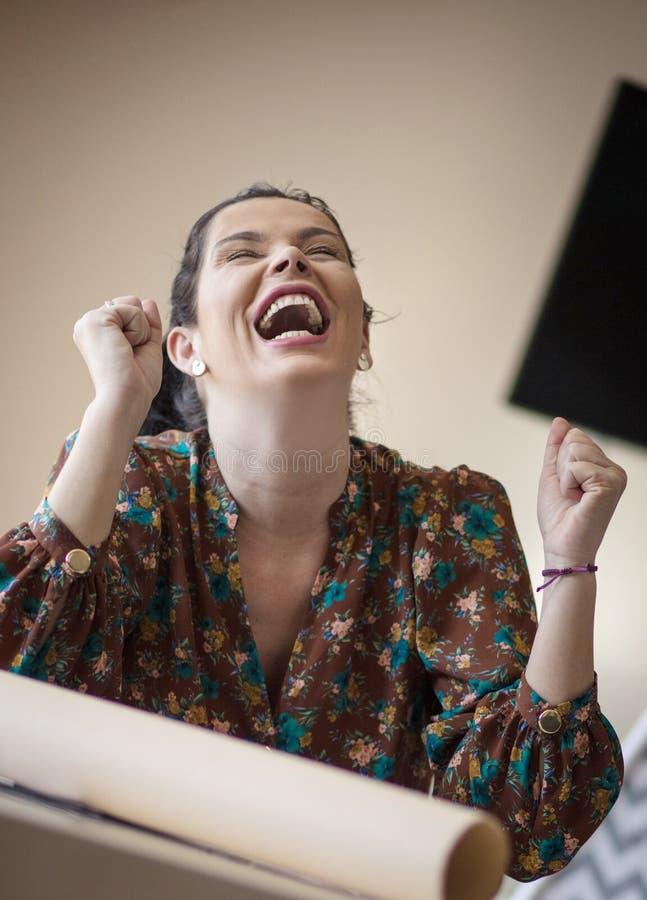 A felicidade vem a seu sucesso imagens de stock