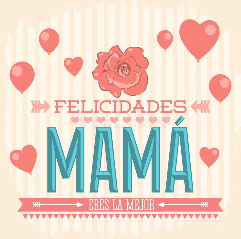 Felicidades Mama, Congrats Macierzysty hiszpański tekst ilustracja wektor