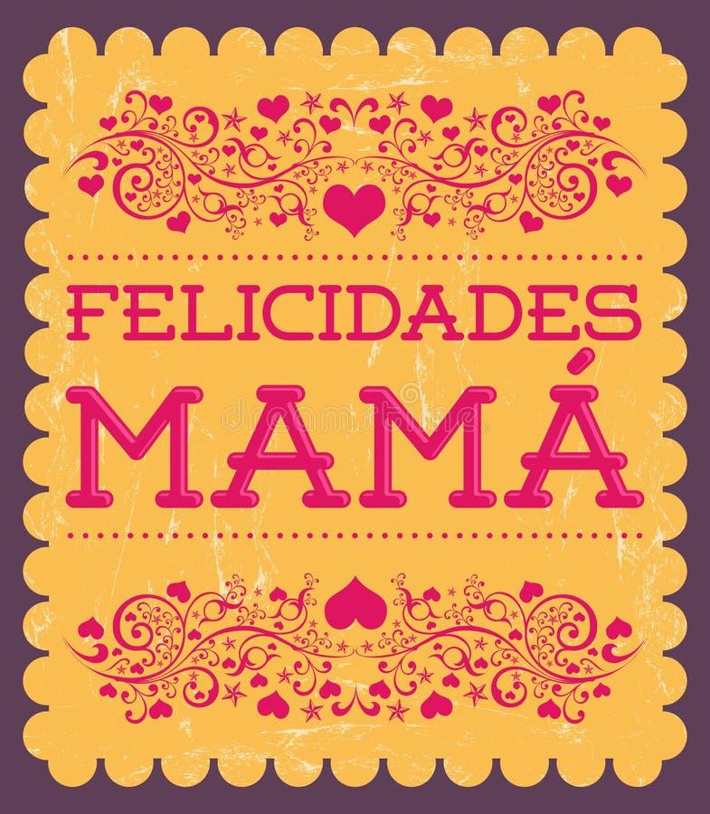 Felicidadesmamma, Congrats-Moeder Spaanse tekst stock illustratie
