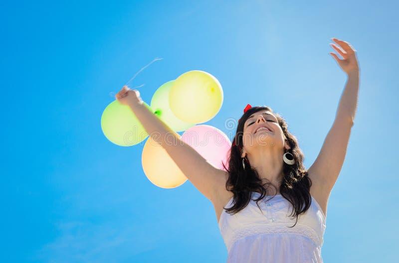 Felicità con gli aerostati fotografia stock libera da diritti