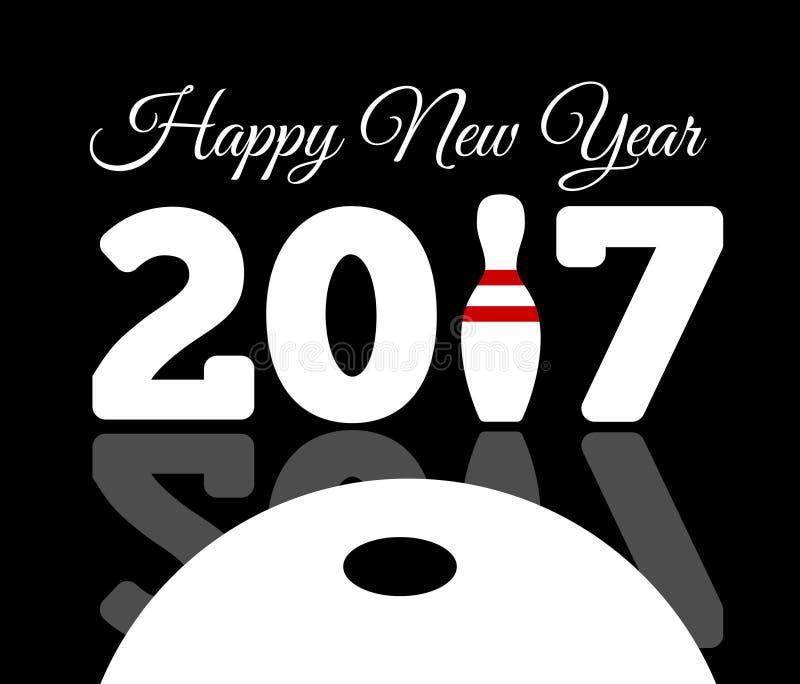 Felicitações aos 2017 anos novo feliz com um boliches e uma bola ilustração stock