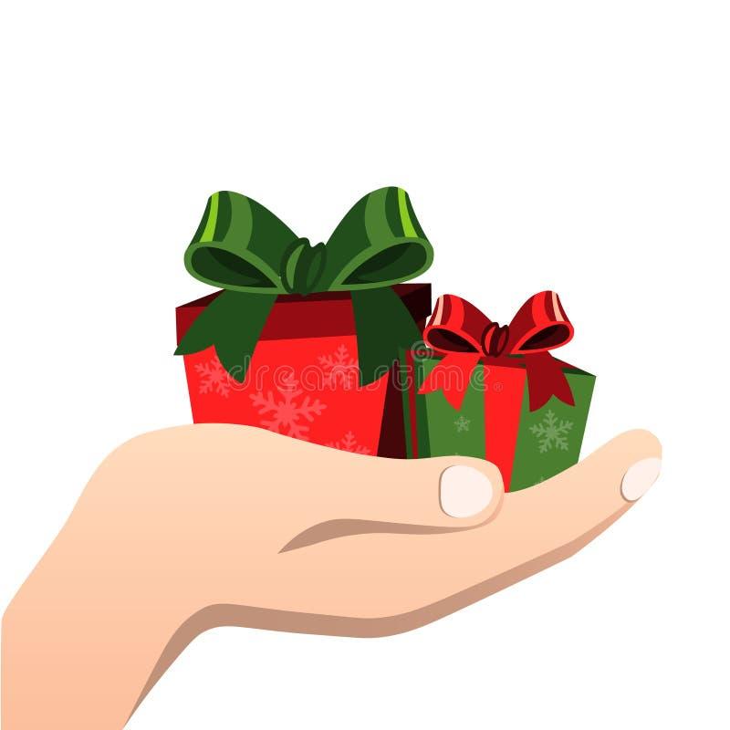 Felicitações com a caixa de presente nas mãos ilustração do vetor