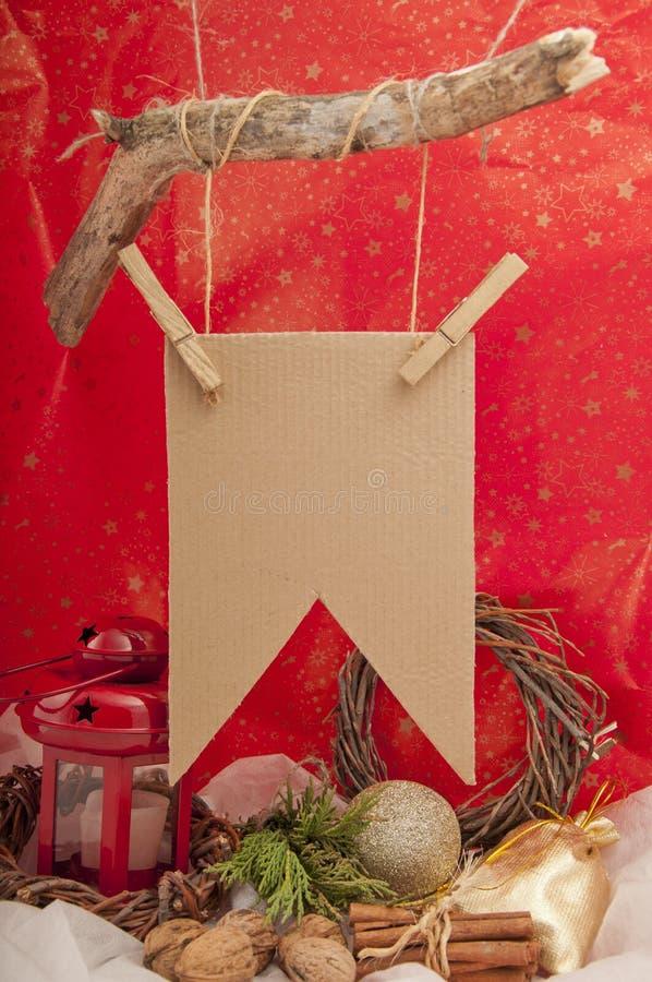 Felicitações da rotulação do sinal do Natal fotografia de stock royalty free