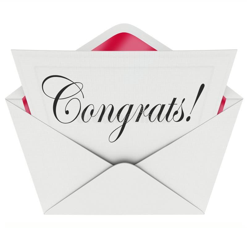 Felicitações do envelope do cartão de carta aberta da nota de Congrats ilustração royalty free