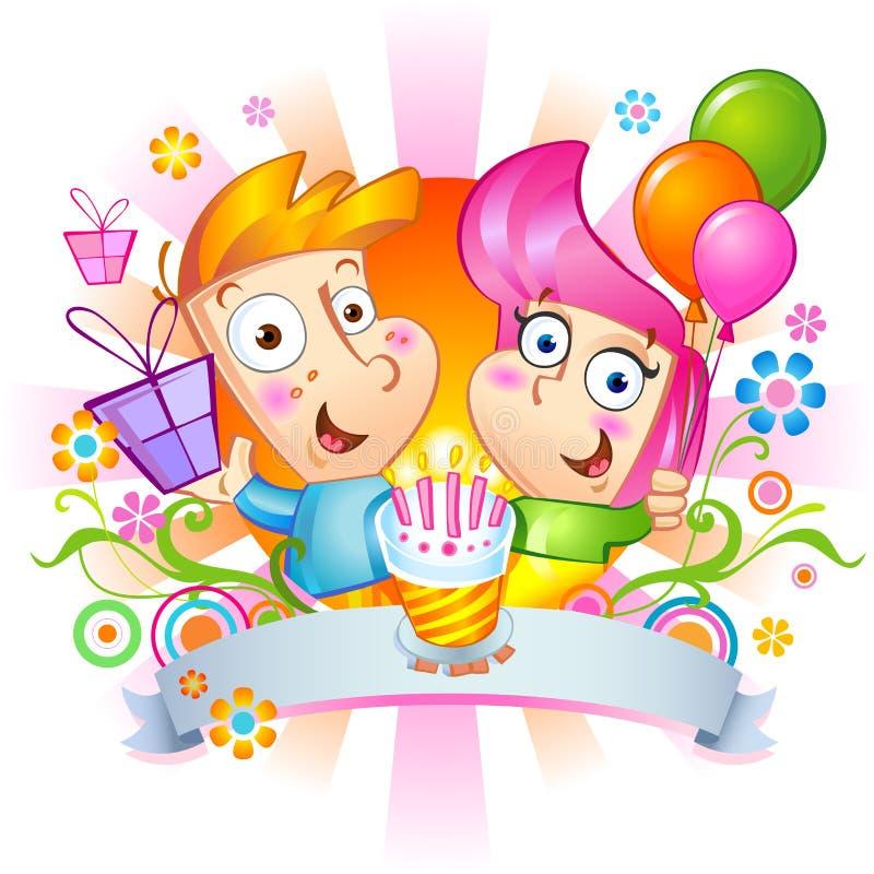 Felicitações do feliz aniversario ilustração stock