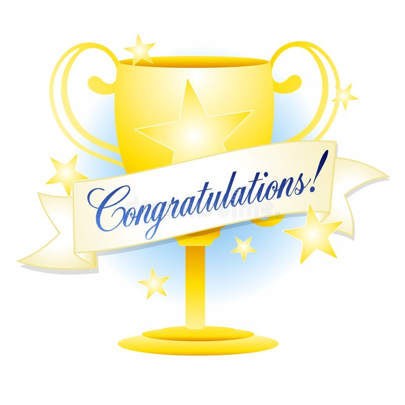 Felicitações do troféu do ouro ilustração do vetor