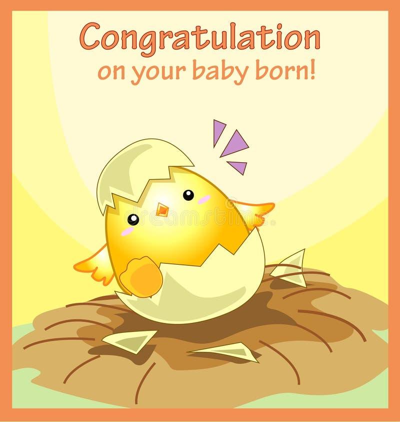 Felicitações em seu cartão carregado bebê ilustração do vetor