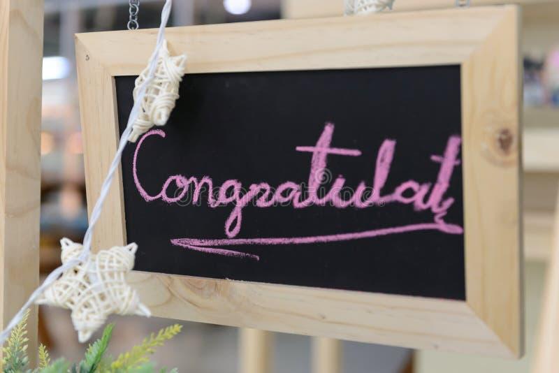 Felicitações escritas à mão pelo giz fotografia de stock royalty free