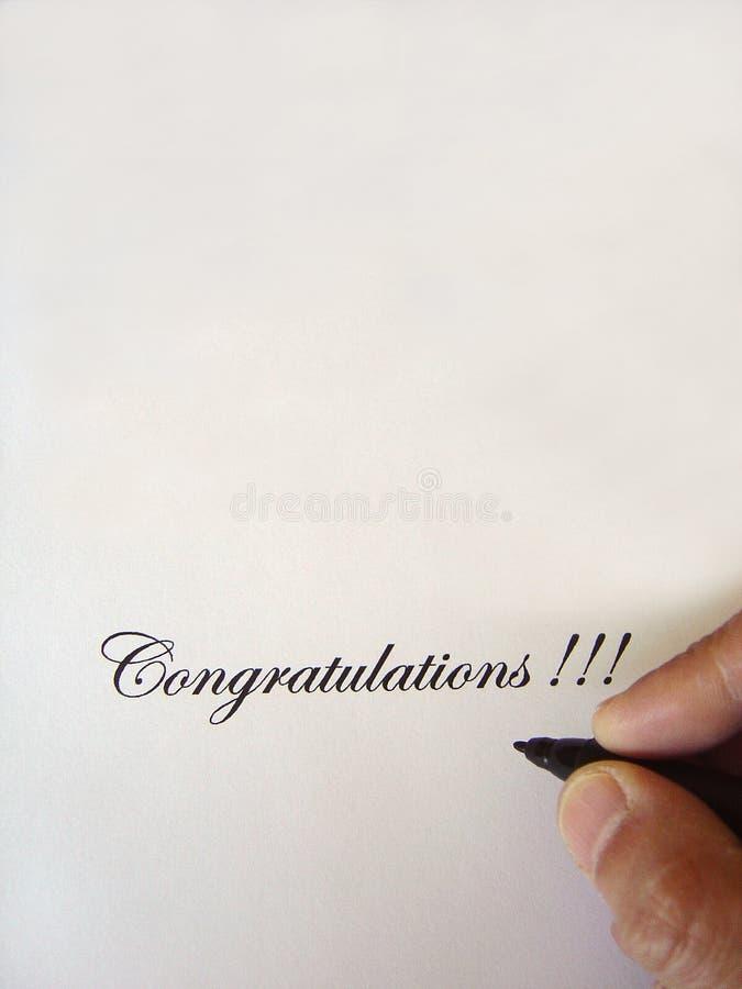 Felicitações escritas fotografia de stock