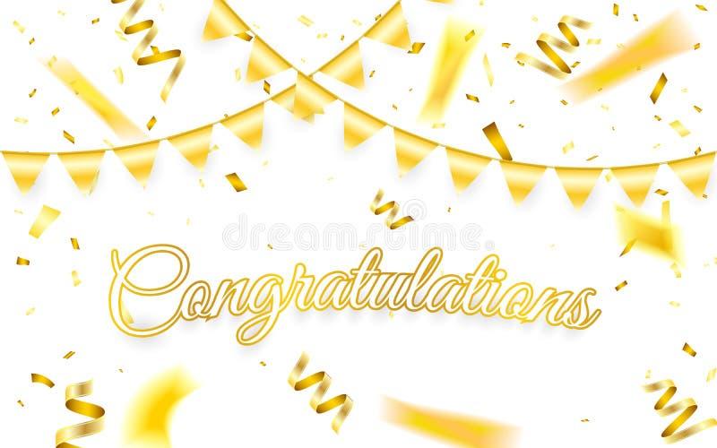 Felicitações Molde do fundo da celebração com confetes do ouro e festão do ouro Ilustração do vetor ilustração stock