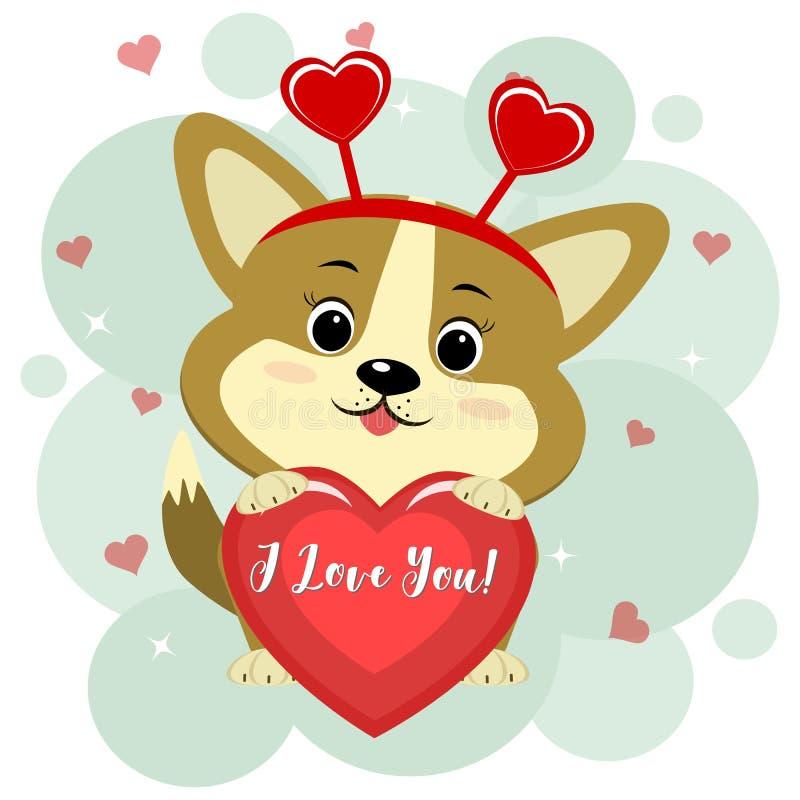 Felicitações no dia do Valentim s O cachorrinho bonito do corgi em uma borda vermelha senta e guarda um coração vermelho em suas  ilustração royalty free