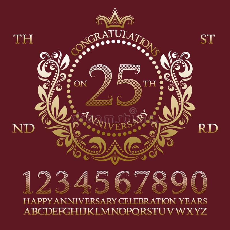 Felicitações no jogo do sinal do aniversário Números dourados, alfabeto, quadro e algumas palavras para criar emblemas da celebra ilustração stock