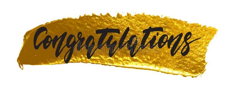 Felicitações - rotulação tirada mão, caligrafia moderna da pena da escova ilustração royalty free