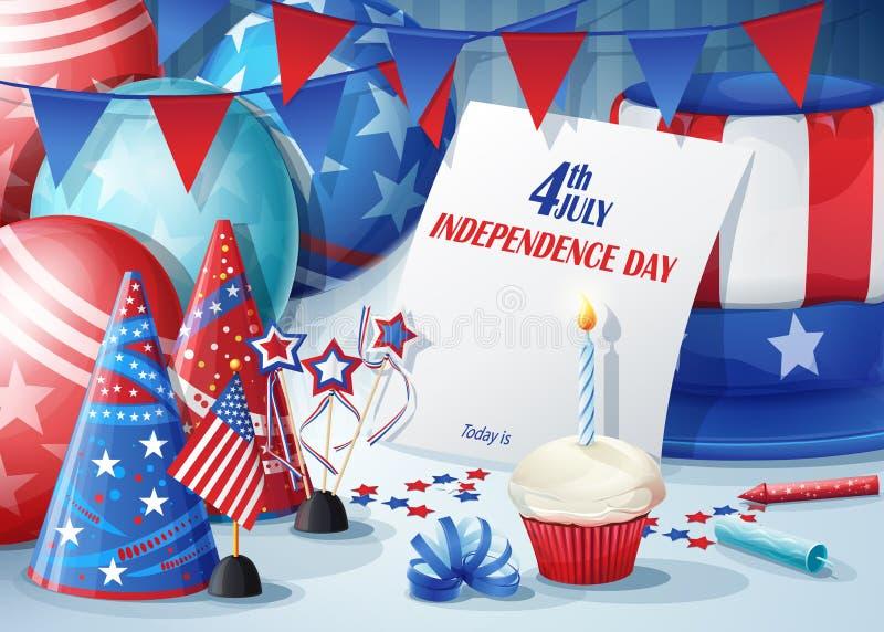 Felicitación tarjeta Día de la Independencia 4 de julio ilustración del vector