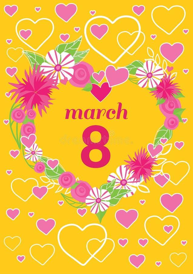 Felicitación tarjeta día de la mujer del 8 de marzo stock de ilustración