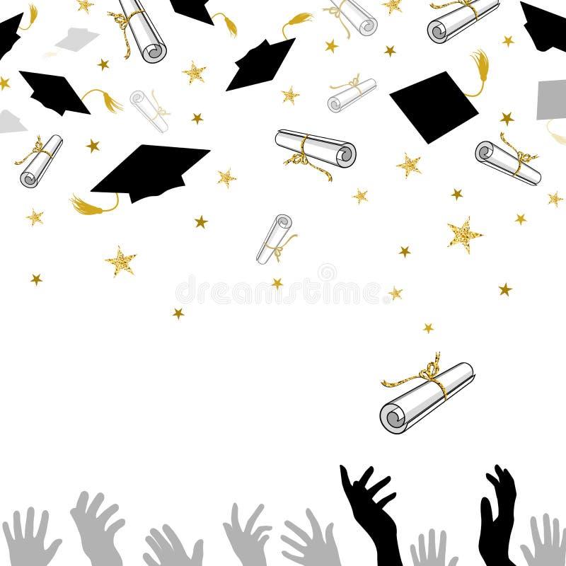 Felicitatie op Graduatie met Kappen en Diploma's stock illustratie