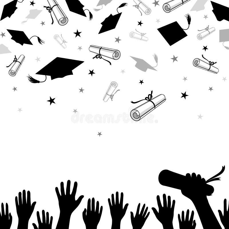 Felicitatieachtergrond op Graduatie met Kappen en Diploma's royalty-vrije illustratie