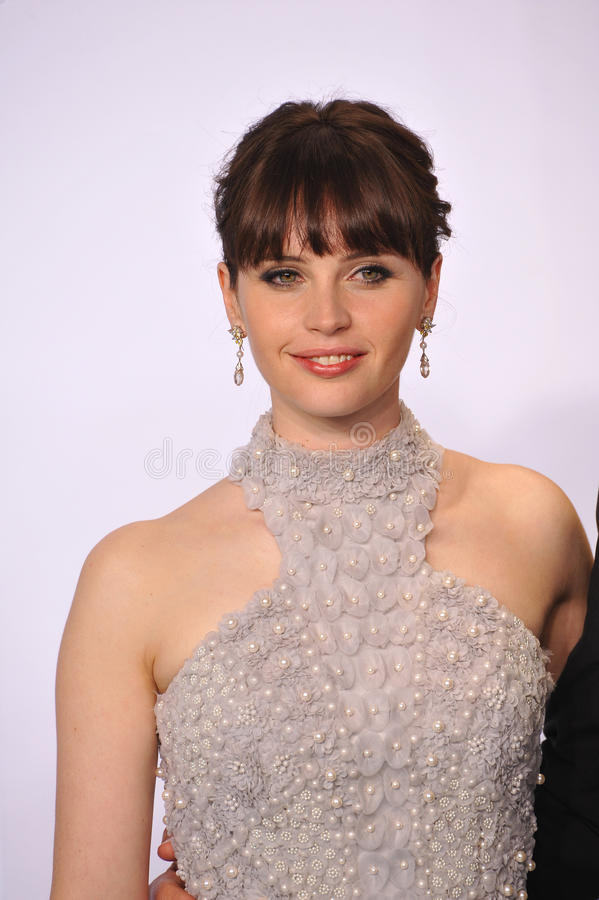 Felicity Jones. LOS ANGELES, CA - FEBRUARY 22, 2015: Felicity Jones at the 87th Annual Academy Awards at the Dolby Theatre, Hollywood royalty free stock images