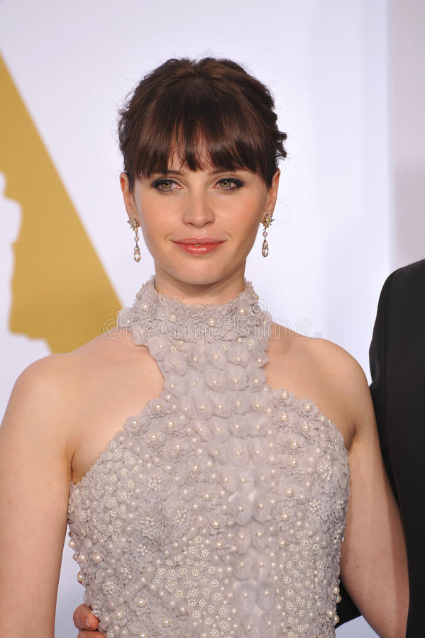 Felicity Jones. LOS ANGELES, CA - FEBRUARY 22, 2015: Felicity Jones at the 87th Annual Academy Awards at the Dolby Theatre, Hollywood stock photo