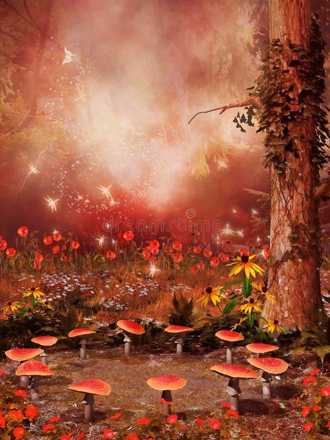 Felik cirkel av champinjoner och blommor vektor illustrationer