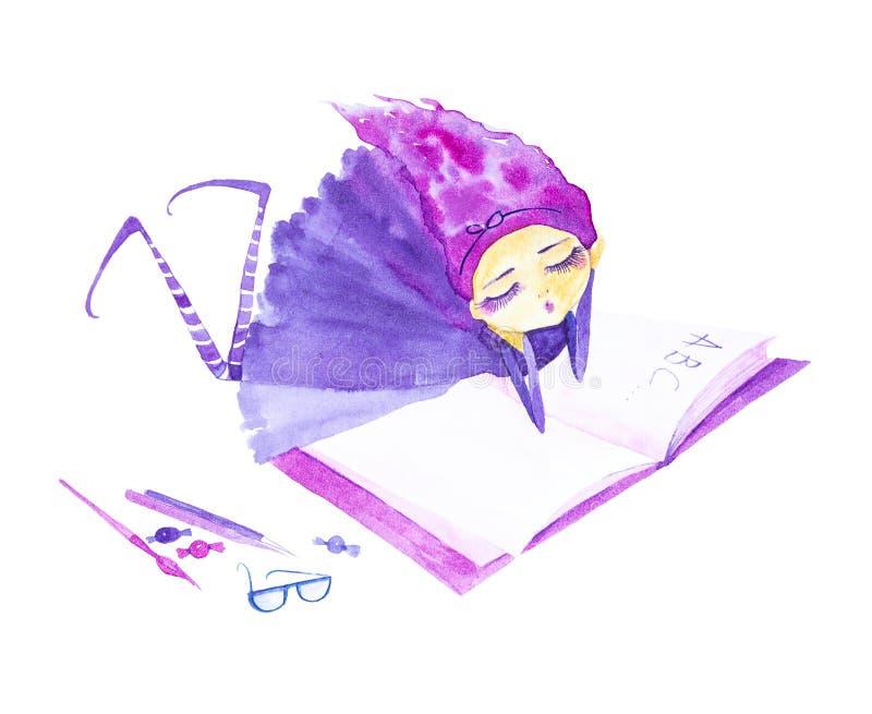 Felik flicka i en purpurfärgad klänning och randiga strumpor, med purpurfärgat hår som framkallar i vinden Liggande drömma och lä vektor illustrationer