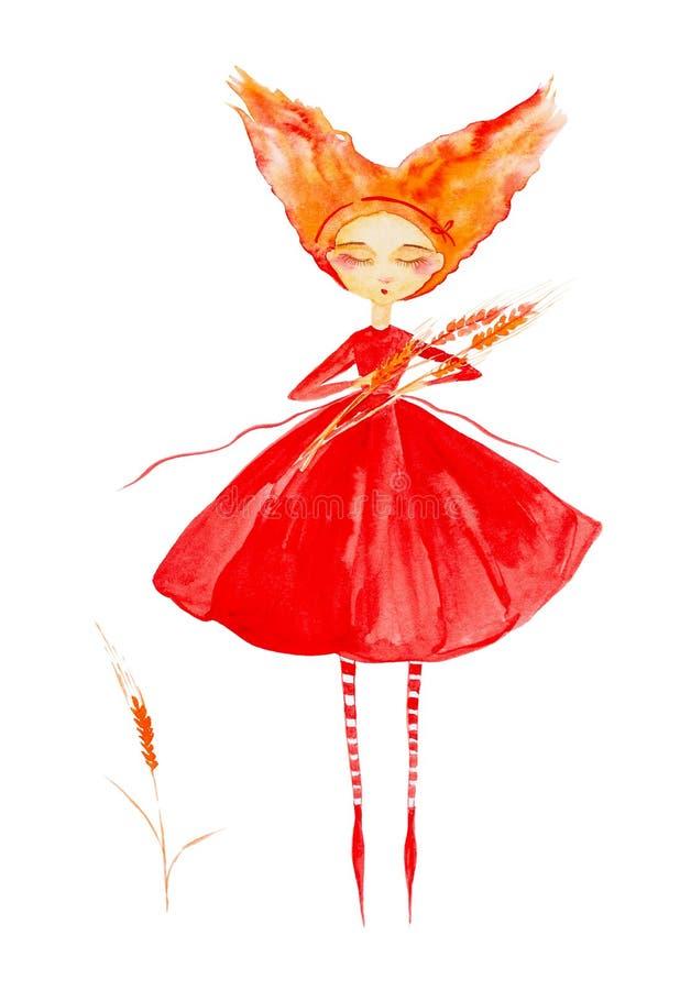 Felik flicka i en r?d kl?nning och randiga strumpor, med r?tt h?r som framkallar i vinden Flyg till och med luft och rymma?ronen  stock illustrationer