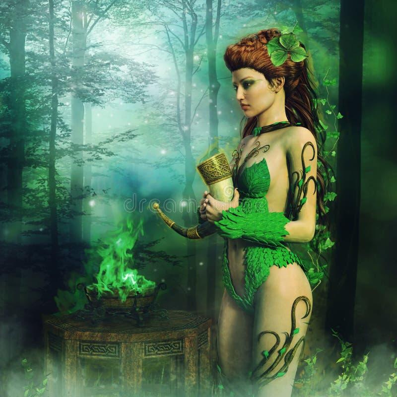Felik priestess med ett horn stock illustrationer