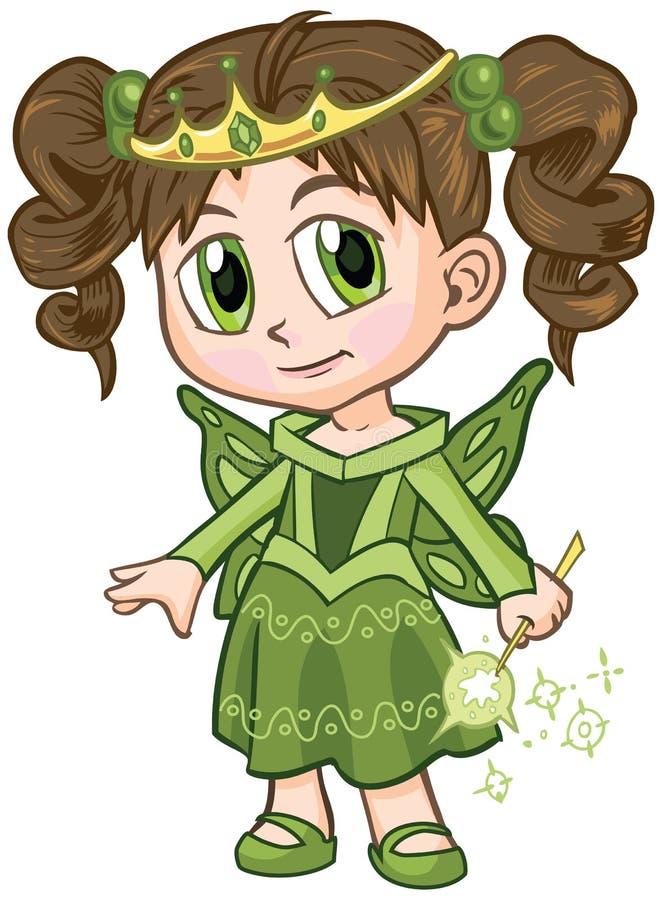 Felik prinsessa Girl Vector Cartoon för Anime stock illustrationer