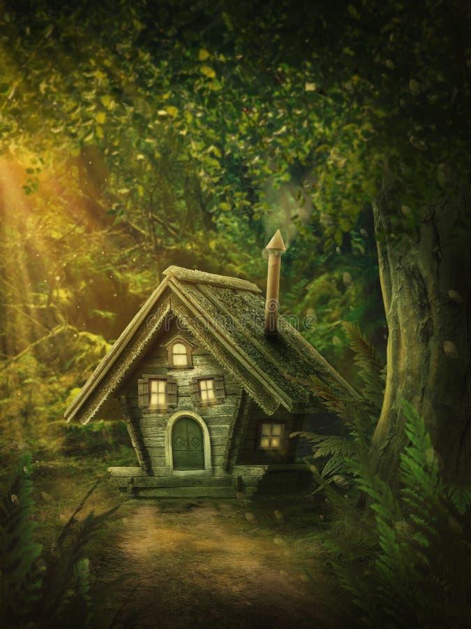 Felik skog med ett hus royaltyfri bild