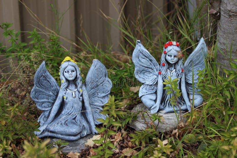 Felika par i trädgård royaltyfria foton