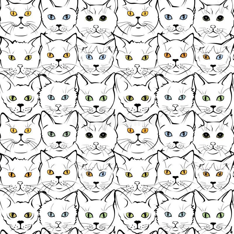 Feline muzzles kittens royalty free illustration