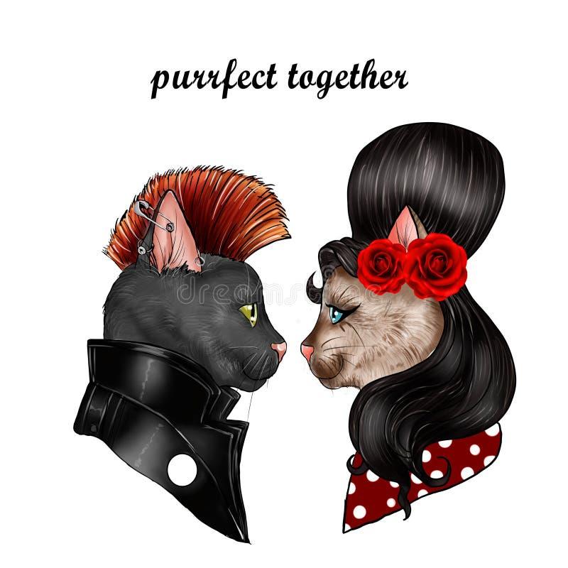 Felines dressed as popstar characters stock illustration