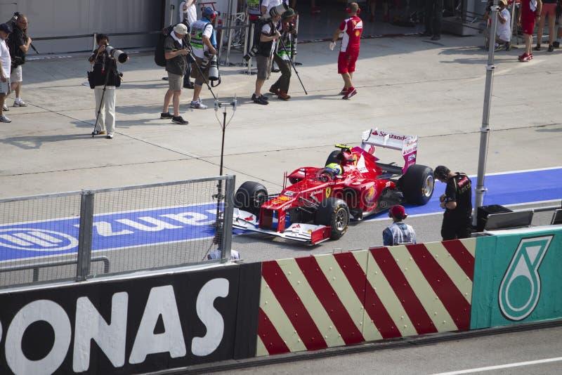 Felipe Massa deja su garage del hueco fotografía de archivo libre de regalías